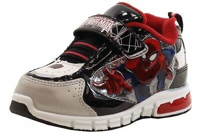 Ultimate Spiderman Toddler Boys Fashion Light Up Black/Red Sneakers Shoes Sz. 10 - Spiderman Light Up Sneakers