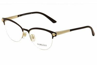 Versace Eyeglasses VE1235 VE/1235 1371 Black/Gold Half Rim Optical Frame 53mm