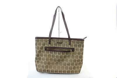 Michael Kors Beige Mocha Kempton Large East West Tote Bag OSFA Clothing, Shoes & Accessories
