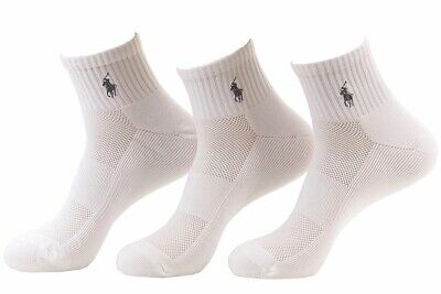 Polo Ralph Lauren Men's 3-Pk White Tech Athletic Quarter Socks 10-13 Fits 6-12.5