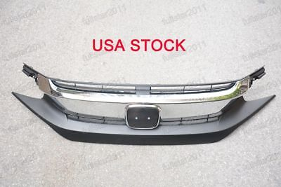 Chrome Front Grille Grill (Black Chrome Front Upper Top Grille Bumper Grill for Honda Civic)