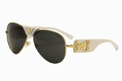 NEW VERSACE MOD. 2150Q 1341/87 WHITE LEATHER AUTHENTIC FRAMES SUNGLASSES 62-14