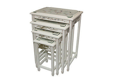 White Lacquer Wooden Nesting Tables Model 8368-WT