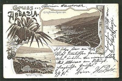 Gruss aus Abbazia Opatija Art Nouveau Croatia stamp 1895 !