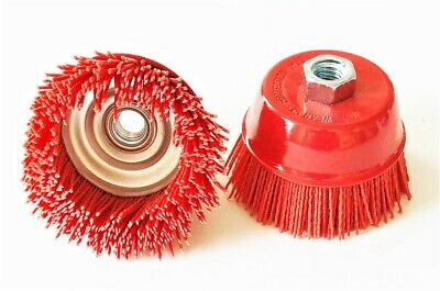 2 Nylon Infused 4 Abrasive Bristle Cup Brush Wheel Wire 58-11 Angle Grinder