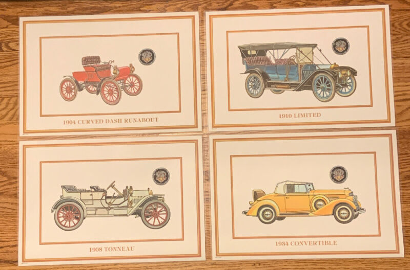 (4) Oldsmobile 75th Anniversary Commemorative Dinner Table Place Mats 1897-1972