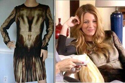 New NWT $885.00 MCQ Alexander McQueen Phantom Gossip Girl Dress US 8 10 / IT 46