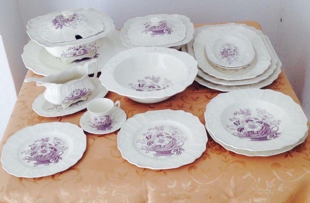servizio da tavola da 12 porcellana inglese vintage MYOTT - 98 pezzi - anni '50