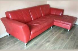 Dfs Red Leather Sofa suite 4pc