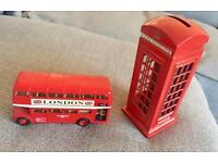 London phone box and bus ornaments