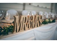 Wedding decorations for sale - MR&MRS letters, tea light holders & other decorative items