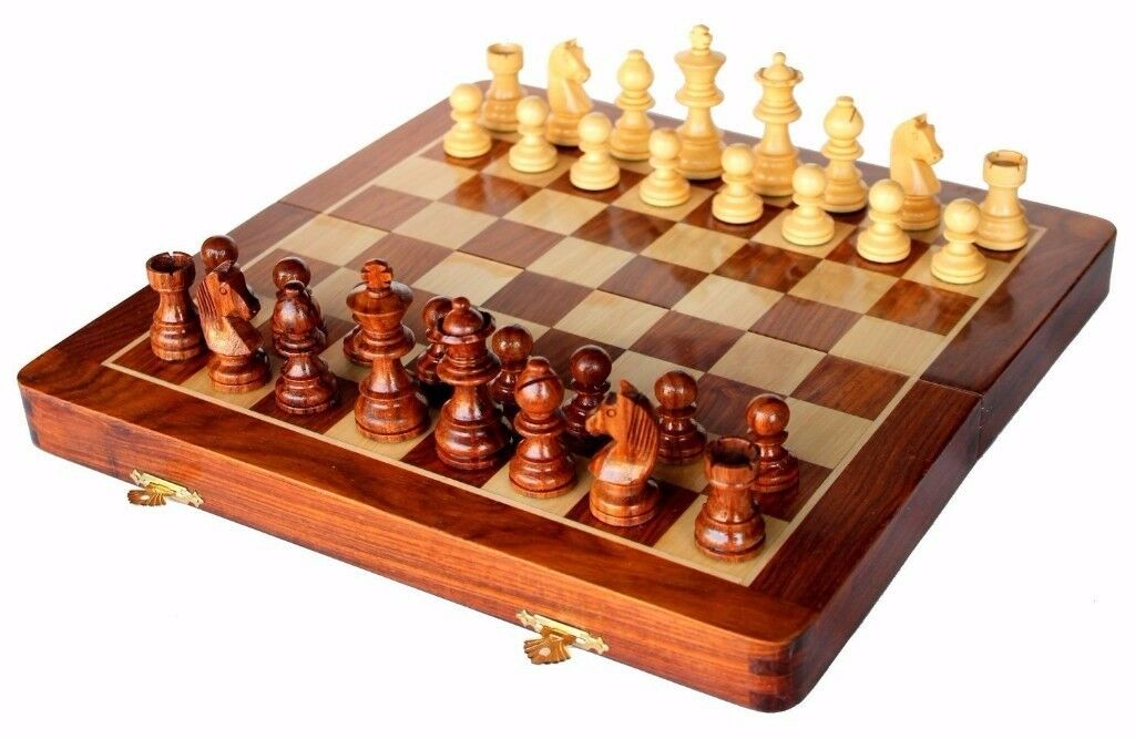 "SouvNear 12"" Wooden Chess Set w/ Magnetic Staunton Pieces - Handmade Rosewood w/ Walnut Wood Finish"