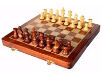 "SouvNear 12"" Wooden Chess Set w/ Magnetic Staunton Pieces - Handmade Rosewood w/ Walnut Wood Finish"