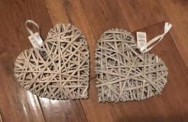 2 hanging wicker hearts
