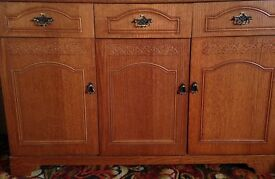 SIDEBOARD, CORNER TV/AUDIO UNIT & CORNER DISPLAY CABINET. MATCHING IN DARK WOOD