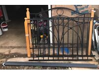 Black Double bed frame iron / wood