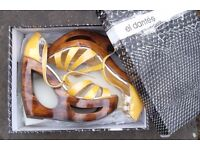 El Dantes Wooden platform cut out heel wedge shiny mustard yellow in UK 4 with box
