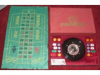 """VINTAGE ROULETTE WHEEL 10"""" DIAMETER INCLUDING CHIPS AND BAIZE"""
