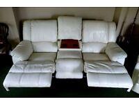 Cream leather recliner suite; 3+1+1