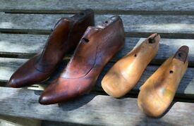 Antique wooden pair shoe lasts, and two right foot children's antique shoe lasts