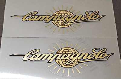 Chain guard decal Campagnolo in Gold on Carbon-pattern vinyl