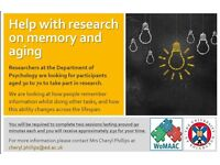 Volunteers aged 44-56 wanted to take part in research - approx £30 for 3 hrs (cash)