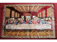 "Large fringed VELVET/TAPERSTRY PICTURE ' THE LAST SUPPER' approx 62"" x 34"" bright & colourful gc"