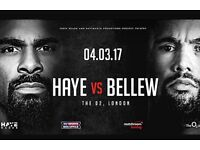 David Haye Vs Tony Bellew tickets X4 4th March O2 London Great seats!!! Lower tier 112, Row D