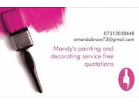 Painting and decorating service free quotations, rates for OAPs.