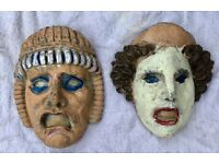 2 x VINTAGE STONE GARGOYLE FACES, LARGE, WALL HANGING MASKS, GARDEN HOUSE DECORATION, GREEK TRAGEDY