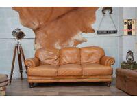 SALE Vintage Leather 3 Seater Sofa Tan Studs