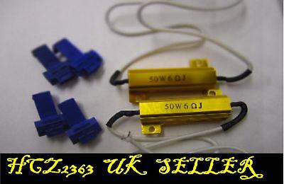 2 x 50W 6 OHM Load Resistors to Fix LED Bulb Fast Flash Flickering Blinking UK