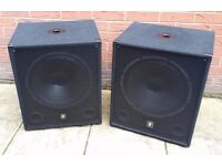PAIR OF QTX BASS BINS SPEAKERS/DJ/BAND. 300 WATTS EACH FOR SALE. EXCELLENT CONDITION.