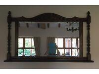 Beautiful Old Charm Tudor Brown Mirror With Shelf
