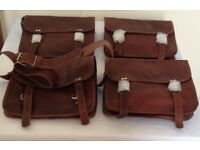group of 4 new, unisex, leather bags / satchels 12 inches x 10 inches, with shoulder strap,