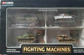 Here are four corgi fighting machine tank models never been opened or touched