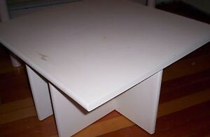BIG WOODEN DISPLAY TABLE white / square top / sturdy solid