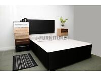 BRAND NEW 4ft or 4ft 6 Double BLACK DIVAN BED BASE + HEADBOARD, Also available in other sizes