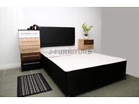 "BRAND NEW 4ft or 4ft 6"" Double BLACK DIVAN BED BASE + HEADBOARD, Also available in other sizes"