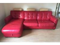 DFS Red Leather Corner Sofa With Pull Out Bed, Under Sofa Storage and Storage Footstool