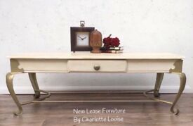 Handpainted Coffee Table Gold Scroll Legs