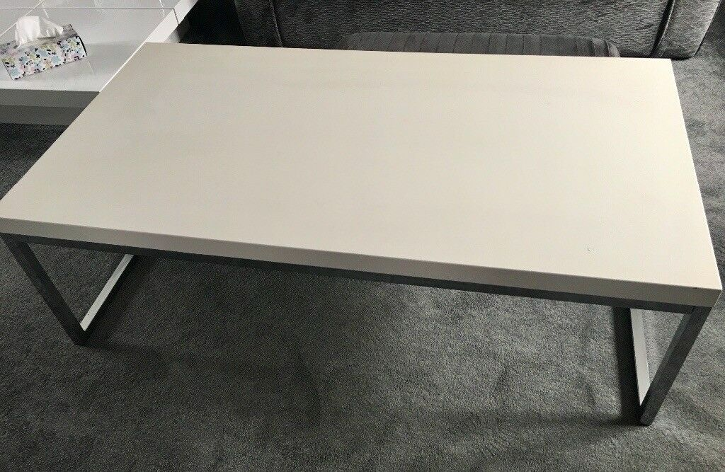 Coffee Table Modern White Gloss Top And Chrome Legs