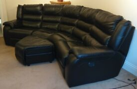 Black 4 Seater Curved Leather Power Recliner Sofa & Shaped Storage Footstool