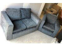 CAN DELIVER- GREY SOFA & ARMCHAIR SUITE IN GOOD CONDITION
