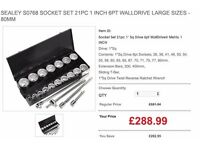 SEALEY S0768 SOCKET SET 21PC 1 INCH 6PT WALLDRIVE LARGE SIZES - 80MM