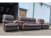 3+1+1 Brown leather recliner sofas DELIVERY AVAILABLE