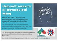 Participants aged 44-56 wanted to take part in research - approx £30 for 3 hrs (cash)