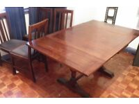 extendable wooden dining table plus set of 4 chairs