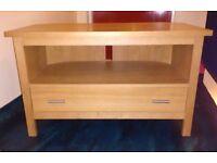 Solid light oak tv stand