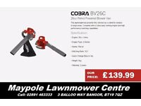 NEW Cobra Leaf Blower & Vacuum - Comes with 3 Nozzles, Sack and Case, 2 Year Warranty